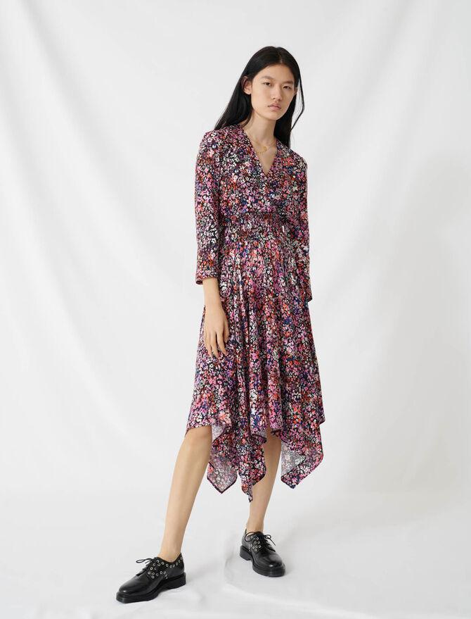 Robe à fleurs à coupe cache-cœur - Robes - MAJE