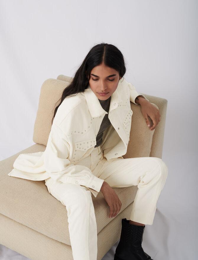 Pantalon en velours côtelé et studs - Pantalons & Jeans - MAJE