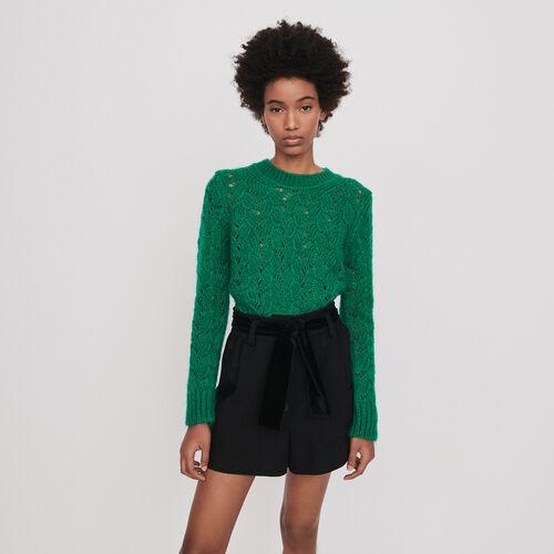 Short à ceinture en velours : Jupes & Shorts couleur Noir