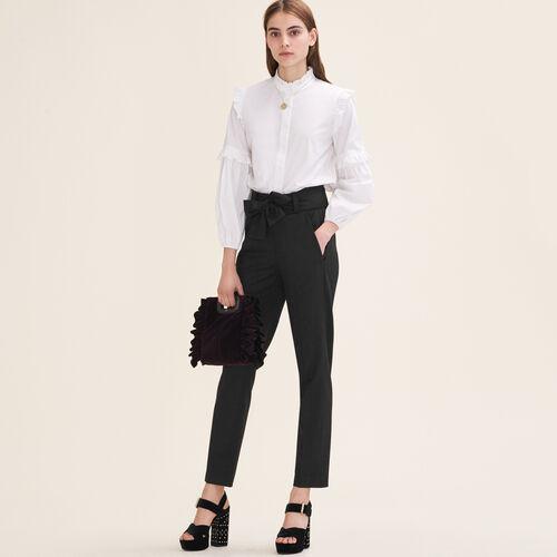 Pantalon carotte avec nœud : Pantalons & Jeans couleur Black