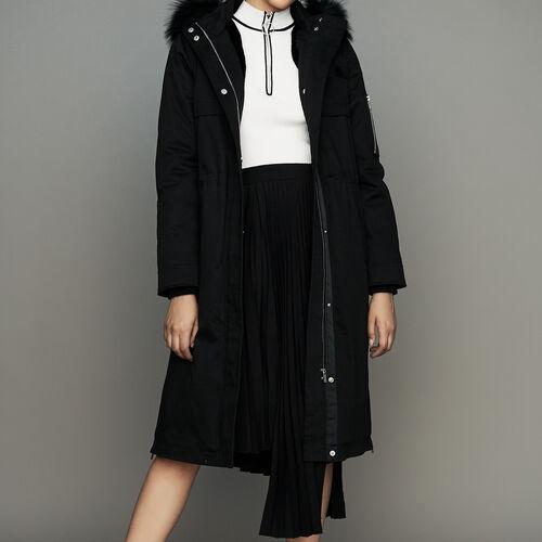 Parka avec capuche en fausse fourrure : Manteaux couleur Black