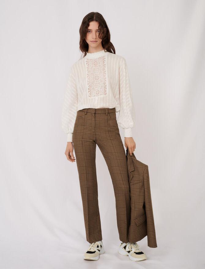 Pantalon droit à carreaux - Pantalons & Jeans - MAJE