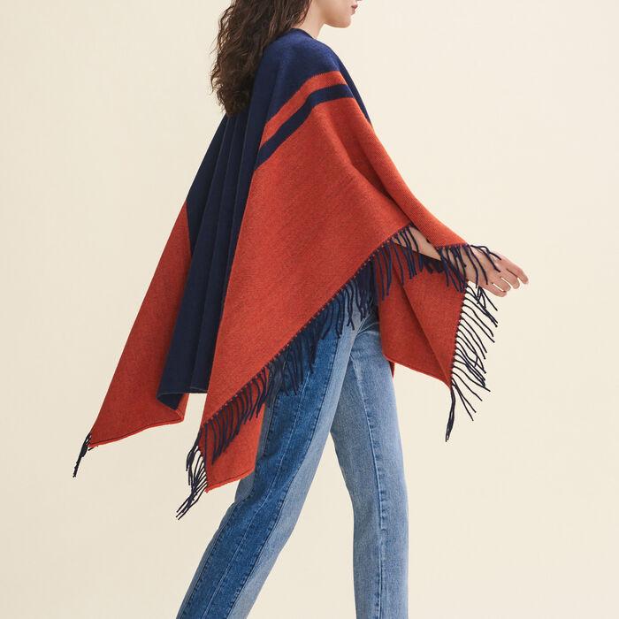 Poncho à franges bicolore : Accessoires couleur MARINE