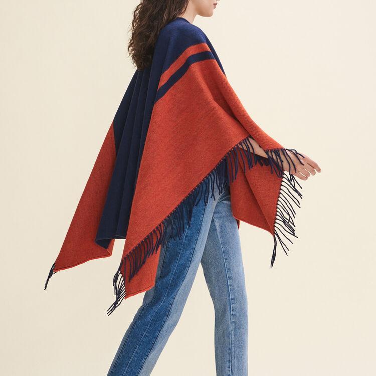 Poncho à franges bicolore : Echarpes & Foulards couleur ECRU