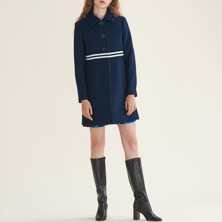 Manteau droit en laine et cachemire : Manteaux couleur Marine