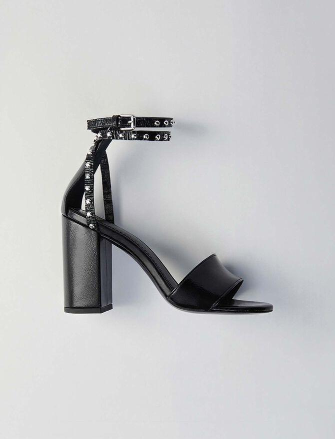 Sandales à talon en vinyle et studs - Escarpins - MAJE