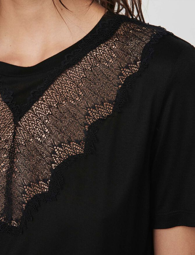 Tee-shirt à incrustations de dentelle - Midseason-Sales_UK_30% - MAJE