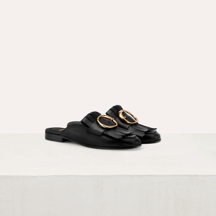 Mocassins mules en cuir et boucle : Accessoires couleur BLACK