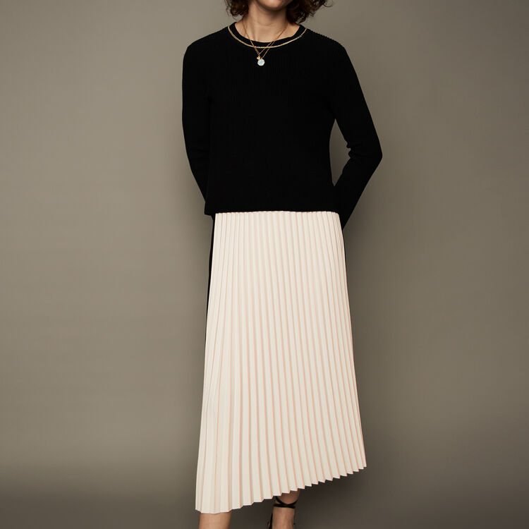 Jupe longue plissée et bicolore : Jupes & Shorts couleur ECRU