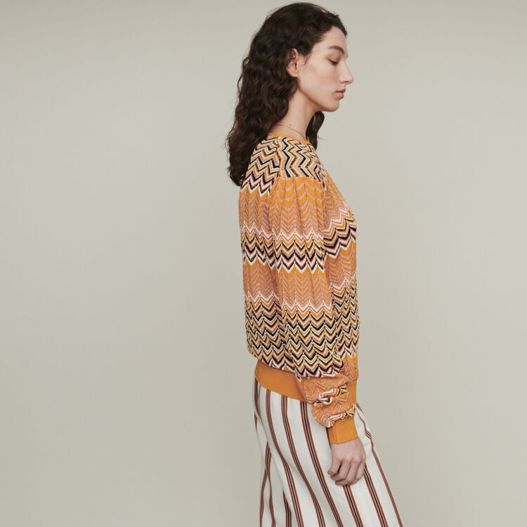 Pull en maille zigzag : Pulls & Cardigans couleur Orange