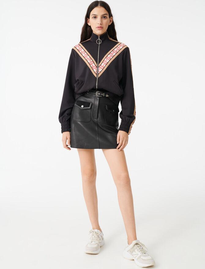 Sweat Shirt zippé à bandes contrastées - Pulls & Cardigans - MAJE
