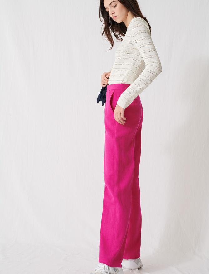 Pantalon tailleur rose fuchsia -  - MAJE