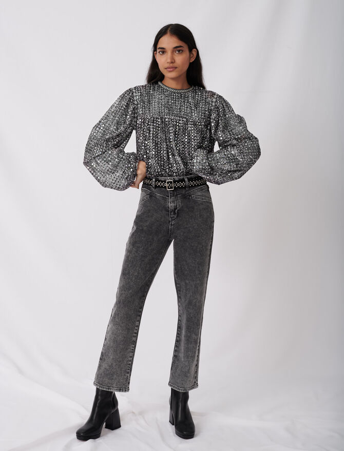 Jean droit avec ceinture fantaisie - Pantalons & Jeans - MAJE