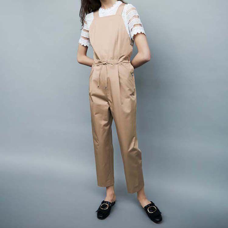 Combipantalon à taille élastiquée : Pantalons couleur Beige