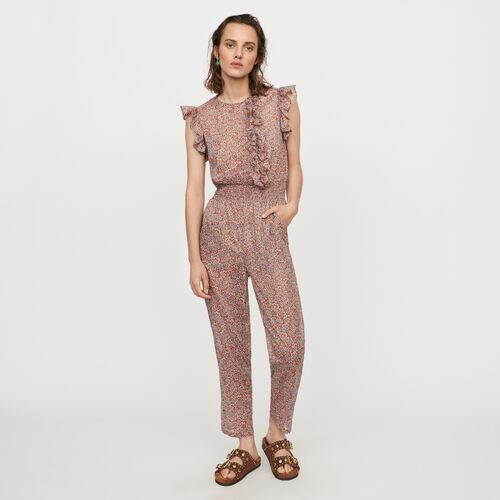 Combi-pantalon floral en voile de coton : Pantalons & Jeans couleur Terracotta