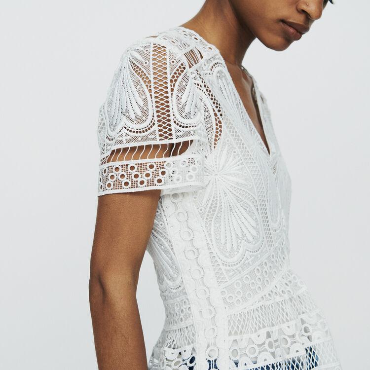 Top en guipure à basque : Tops & Chemises couleur Blanc Casse