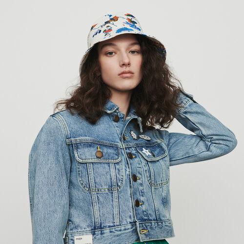 Veste courte en jean avec pins : Manteaux & Blousons couleur Denim