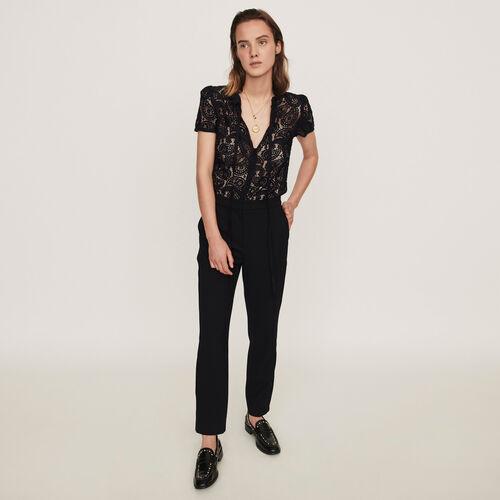 Combinaison-pantalon en guipure et crêpe : Collection hiver couleur Noir