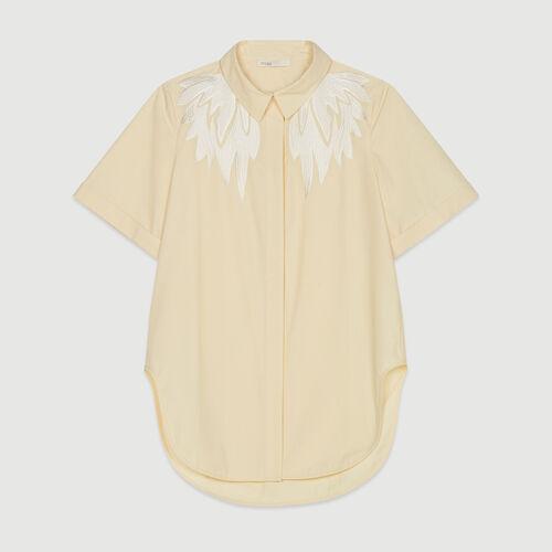 Chemise à manches courtes avec broderie : Tops & Chemises couleur Jaune