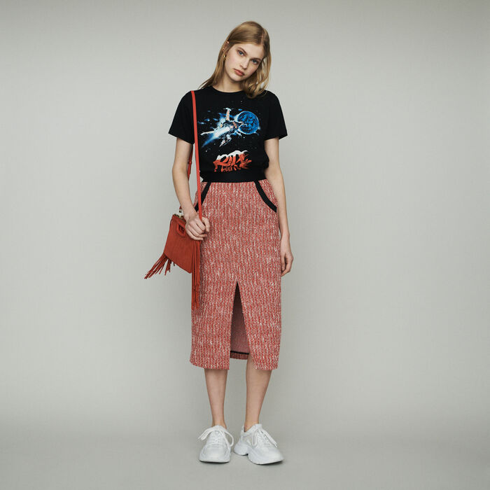 Jupe midi façon tweed : Jupes & Shorts couleur Rouge