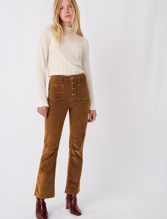 Pantalon droit en velours - Pantalons & Jeans - MAJE