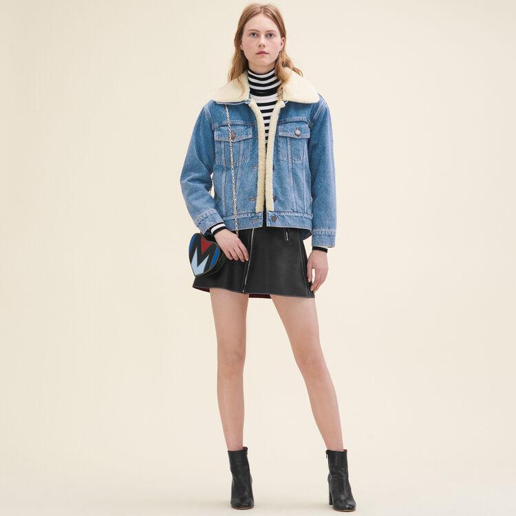 Veste en jean avec détail en peau lainée : Blousons & Vestes couleur Denim