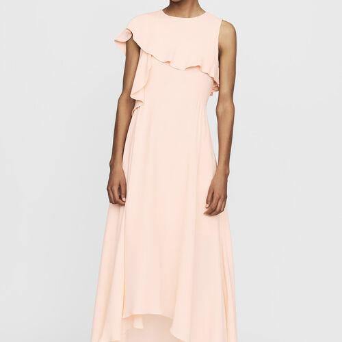 Robe longue asymétrique sans manches : Robes couleur PECHE