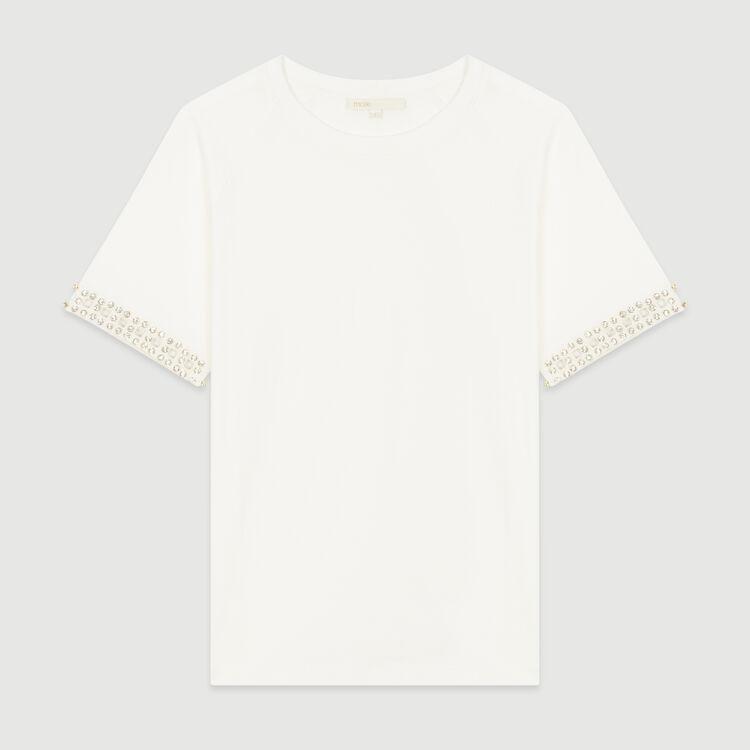 Tee-shirt ajouré avec strass : T-Shirts couleur Ecru