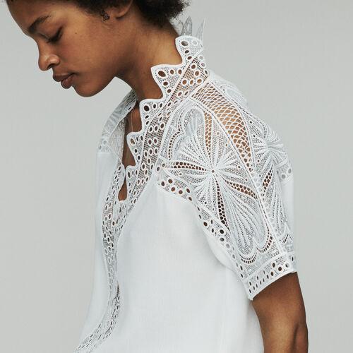 Top avec guipure : Tops couleur Blanc Casse