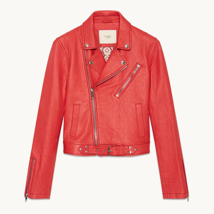 Blouson en cuir esprit biker : Vestes & Blousons couleur ROUGE