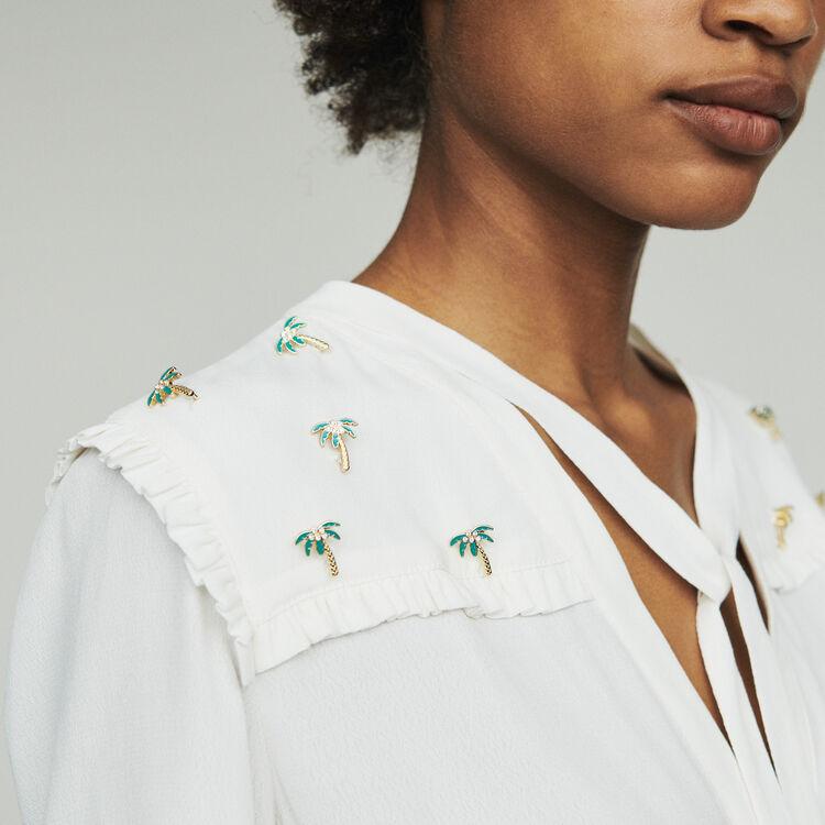 Blouse en crêpe avec bijoux palmiers : Tops & Chemises couleur ECRU