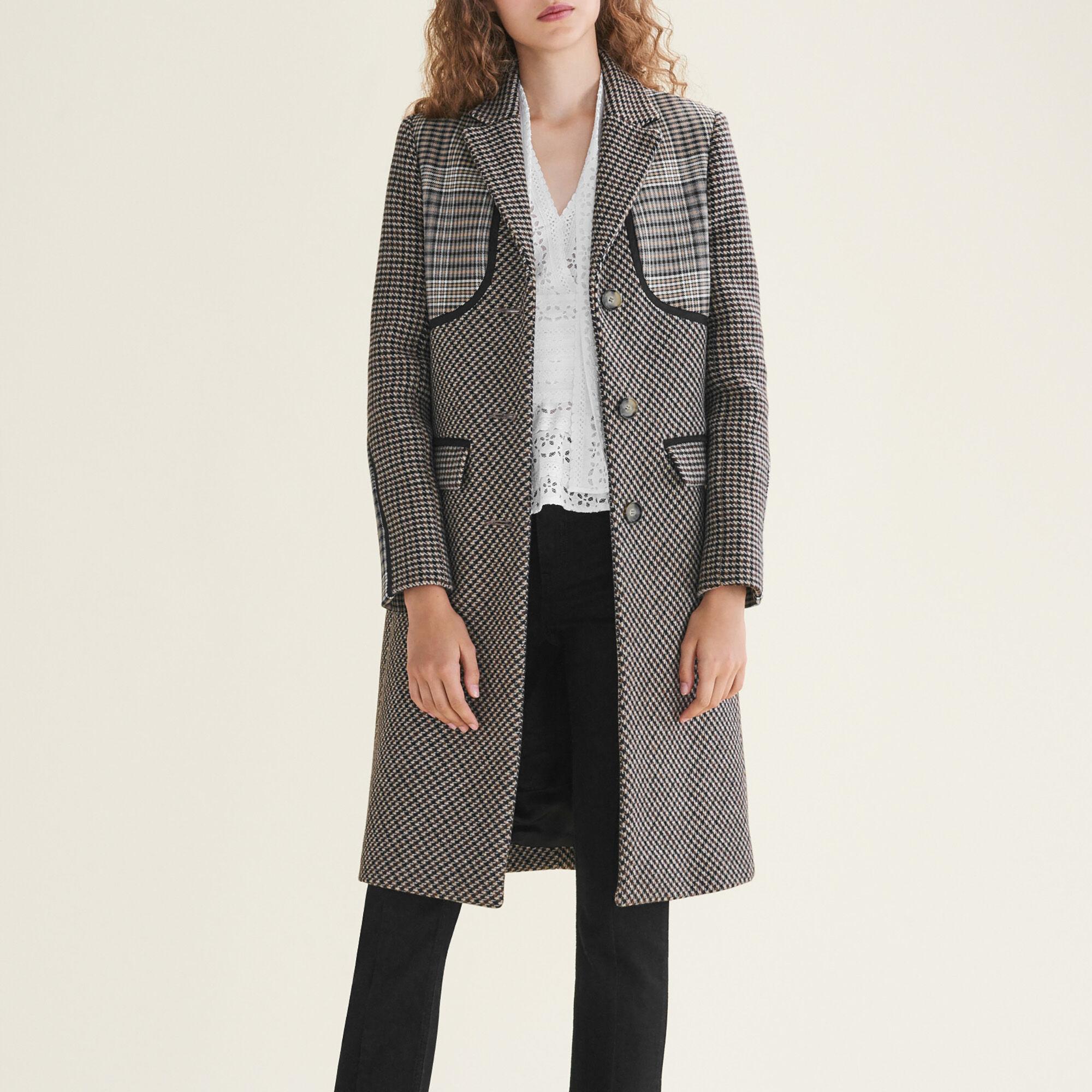 Manteau à carreaux jacquard maje t36 femme