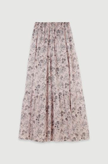 Jupe longue à fleurs en voile de coton