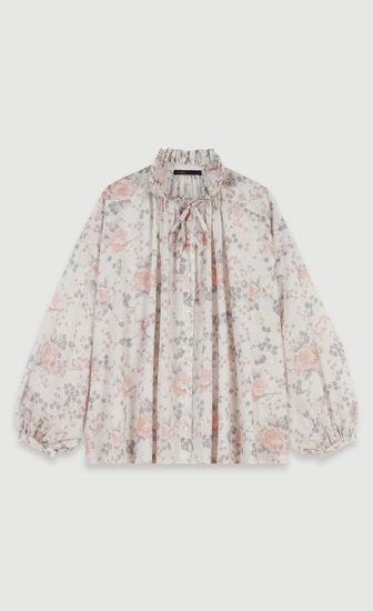 Chemise à fleurs en voile de coton