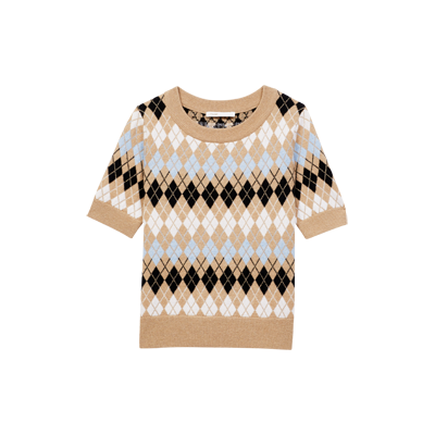 Pull manches courtes en jacquard - Collection ete - MAJE