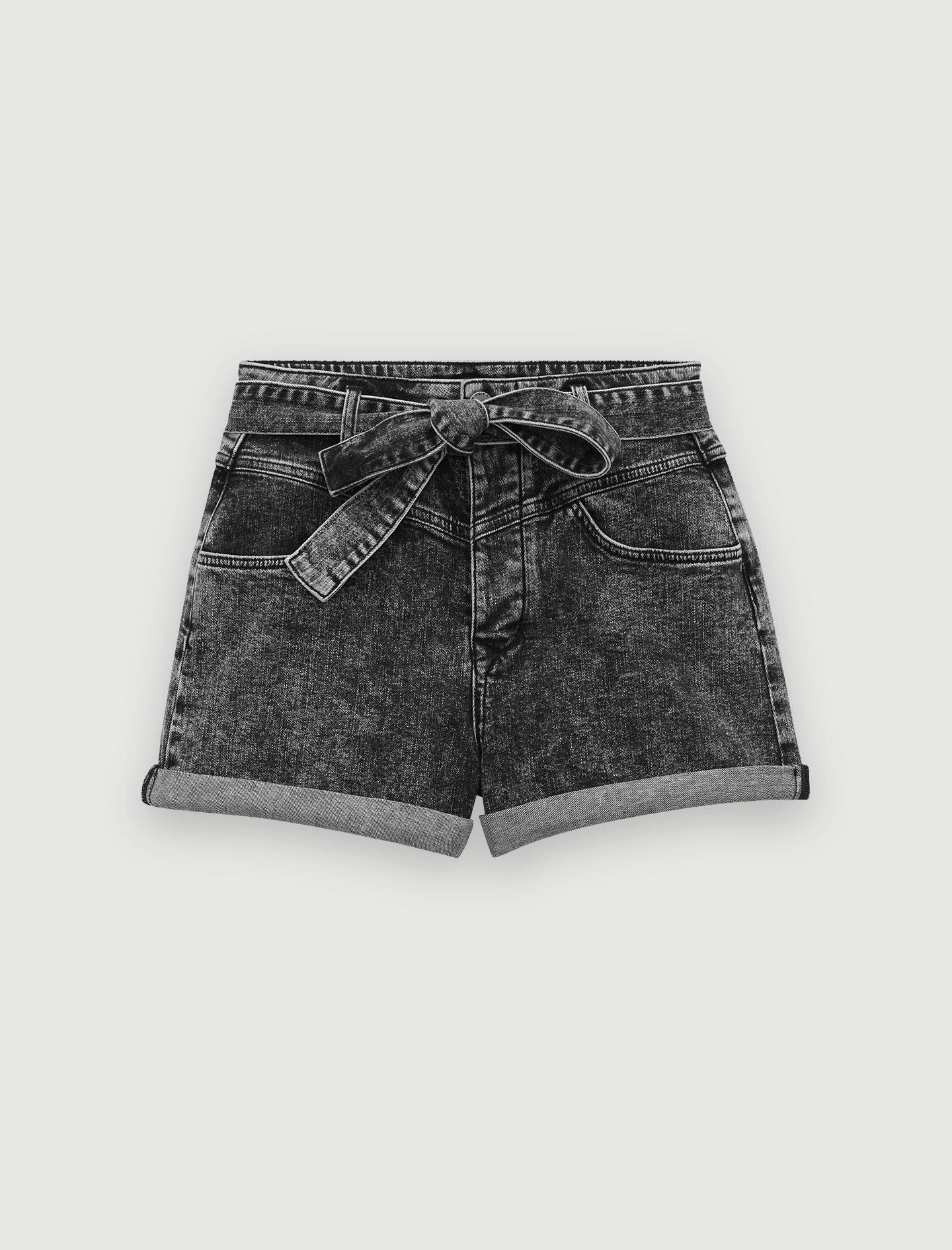 119ILLOU Short délavé ceinturé Jupes & Shorts | Maje Paris
