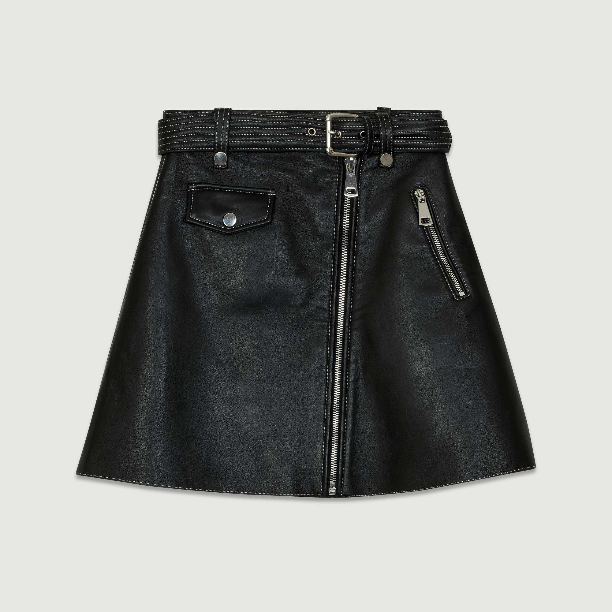 JOUKI Jupe trapèze en cuir Jupes & Shorts | Maje Paris