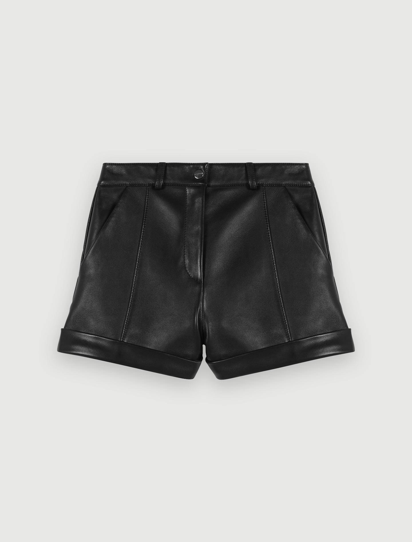 119ILORD Short en cuir avec revers et surpiqûres Jupes